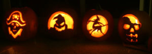 four-carved-pumpkins