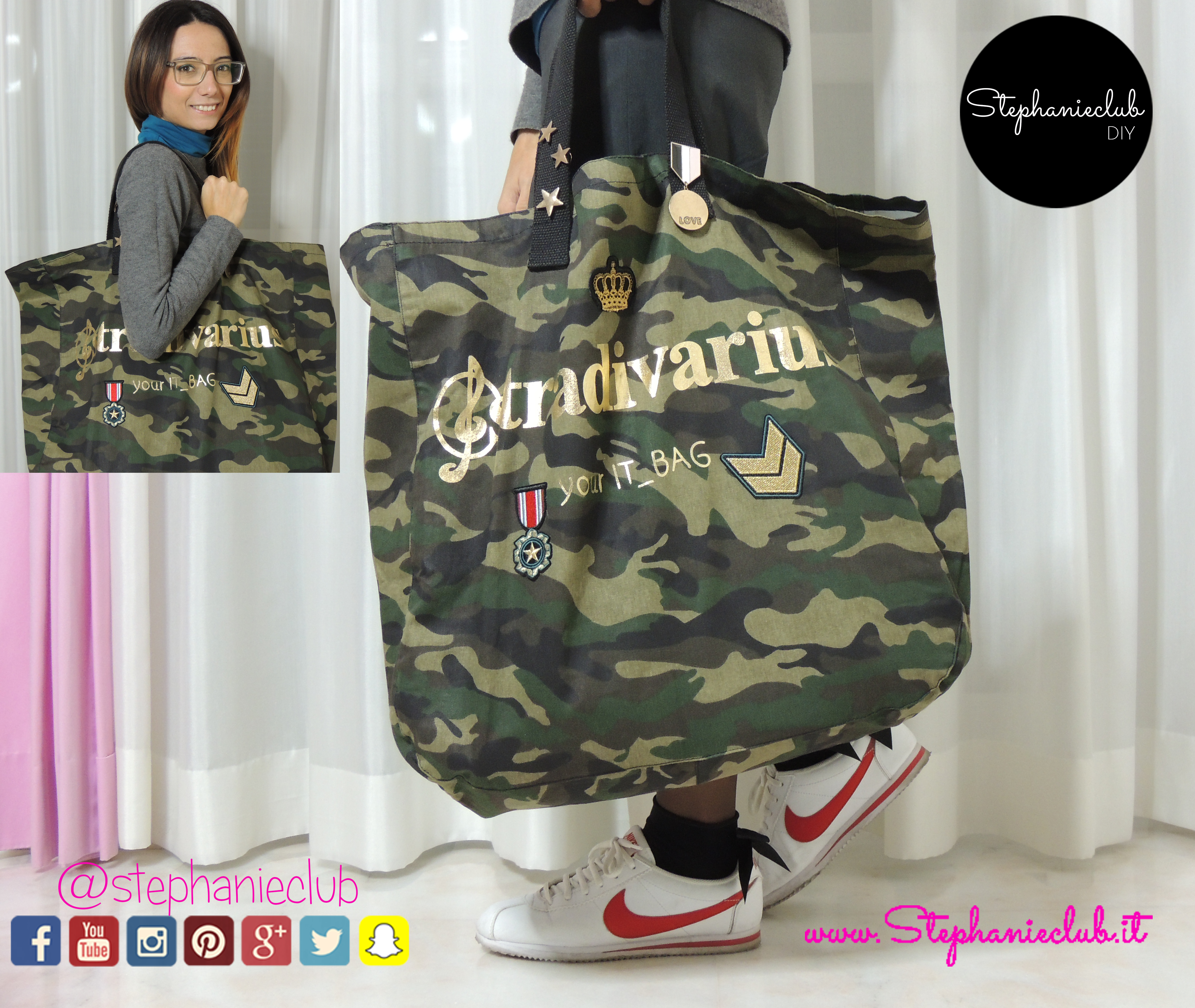 Come decorare una shopping bag con patch Stradivarius e pin Bershka_02